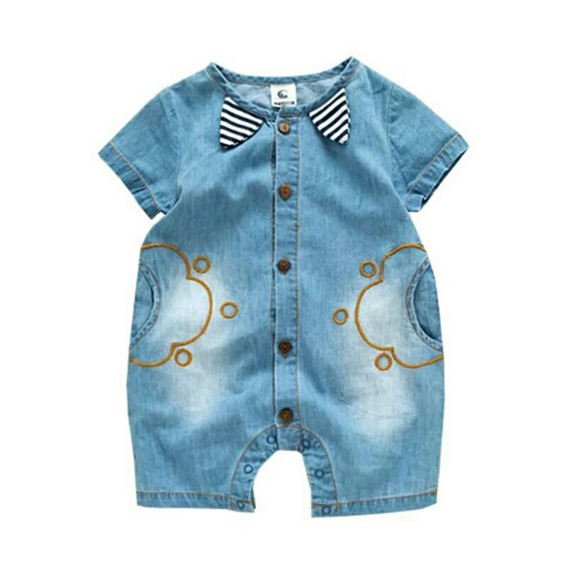 00e320ae478c New Fashion Baby Clothing Sets Stripe Ears Denim Jumpsuits ...