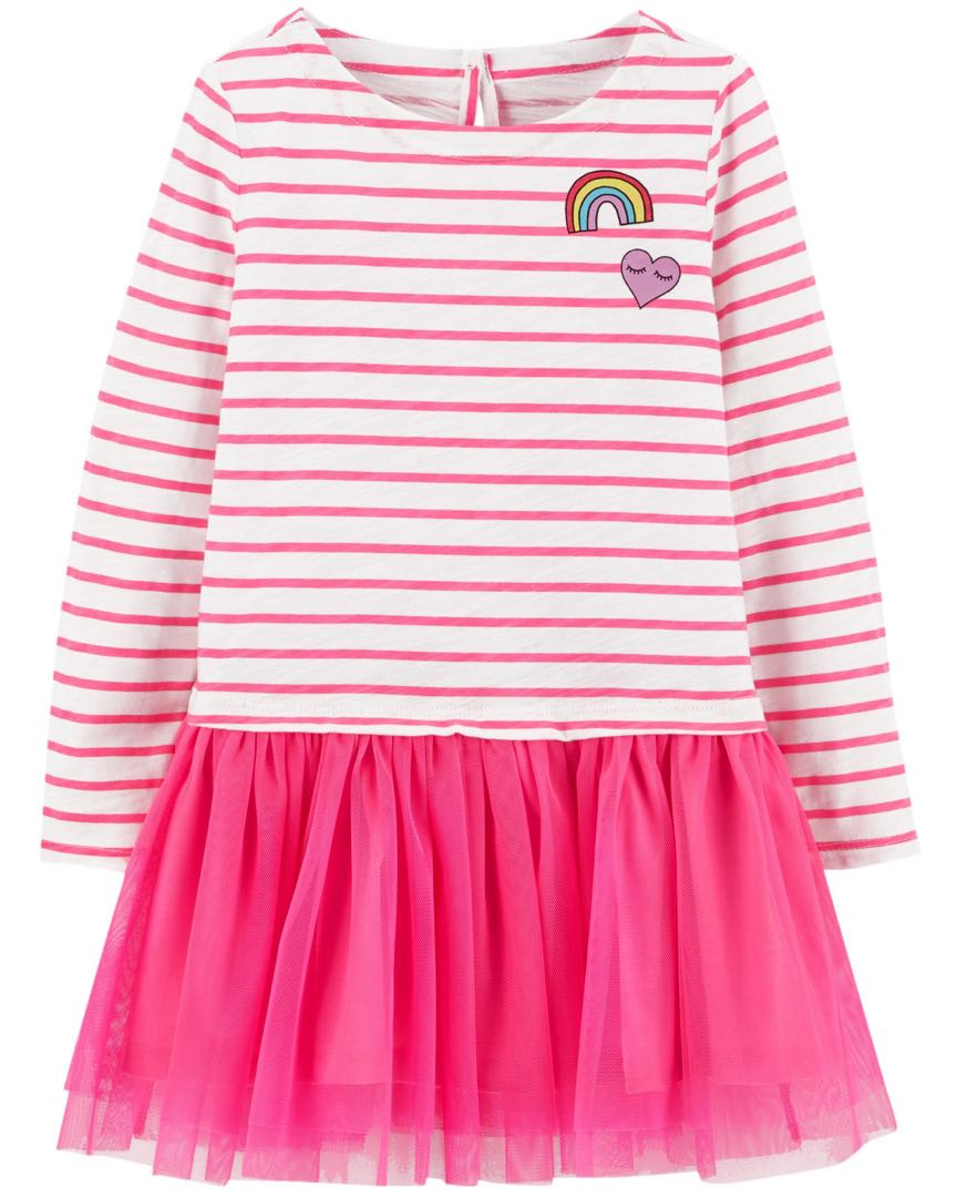 aef60a36803d OshKosh B gosh Pink Tulle Striped Rainbow Dress