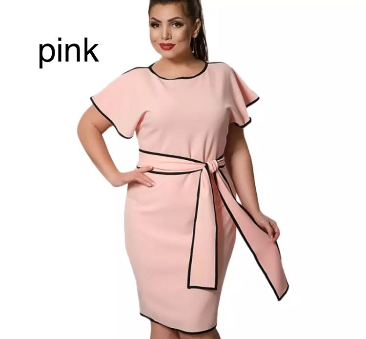 dfdf918471ad6 (PO) L-6XL Plus Size Women's Dresses Summer Big Sizes Elegant Short Dress  Spring Office Party Dress With Belt