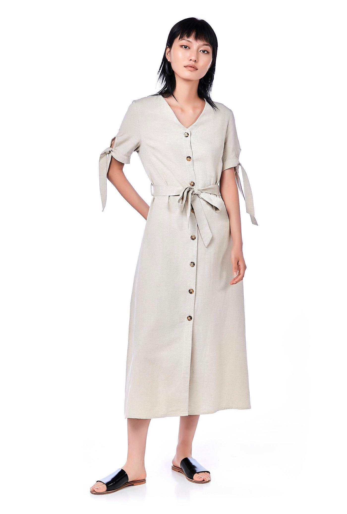 5a3ce424dd11 TEM Dena Linen Shirt Dress Sand