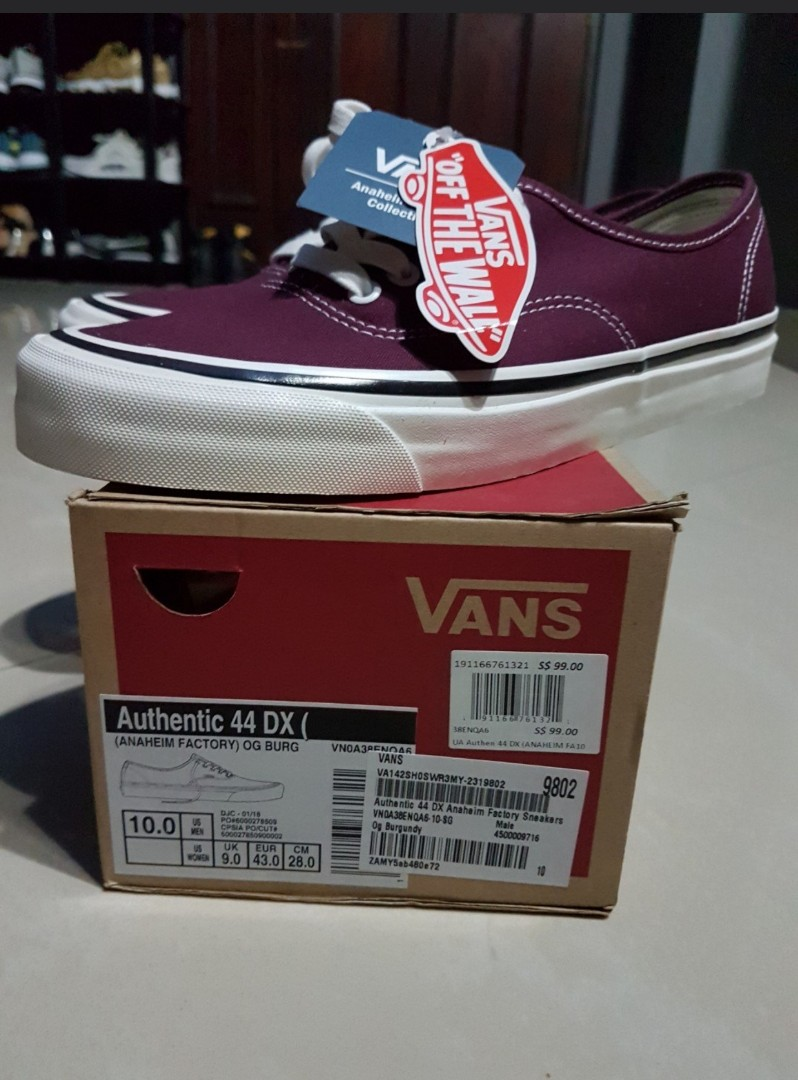 Vans Authentic 44 DX (Anaheim Factory) OG Burgundy, Men s Fashion,  Footwear, Sneakers on Carousell 4f400e5352cd