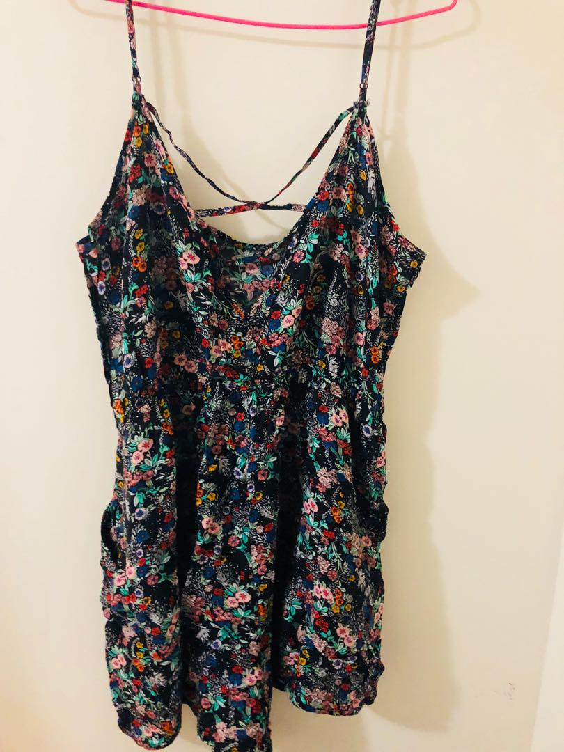 Women's black and pink floral spaghetti strap top