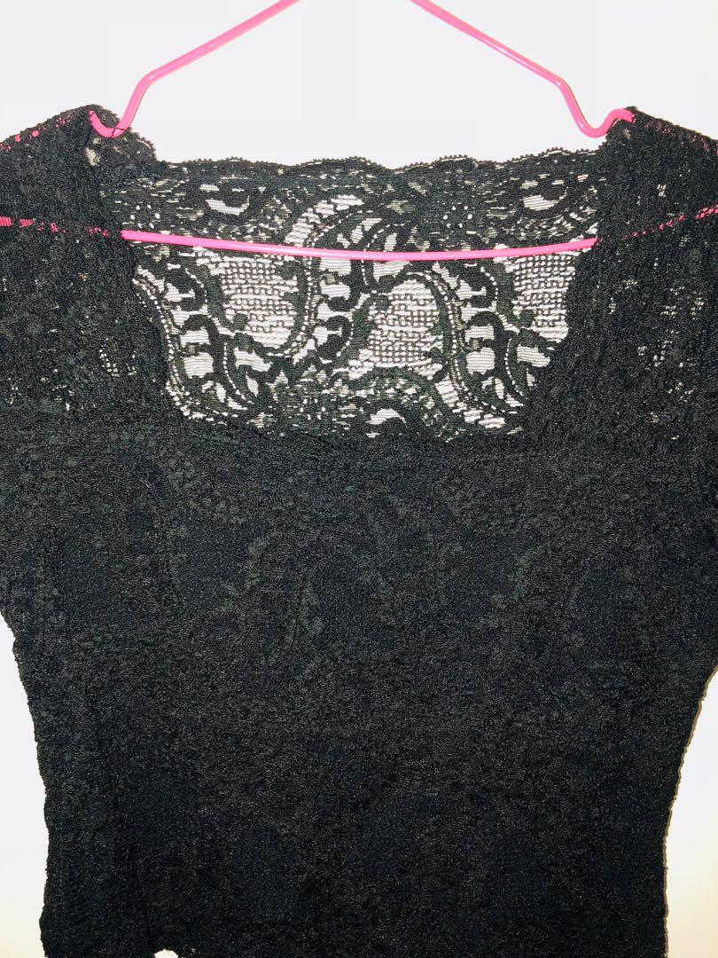 Women's black lace scoop-neck shirt