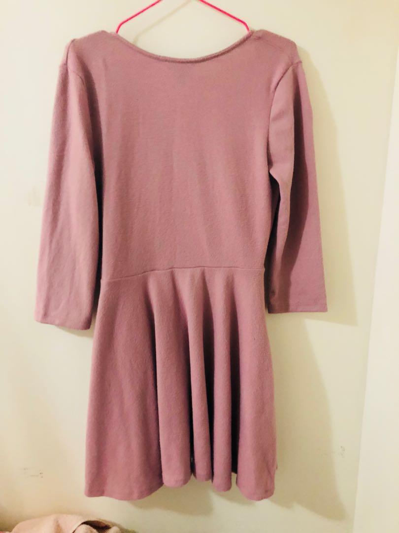 Women's pink long-sleeved dress