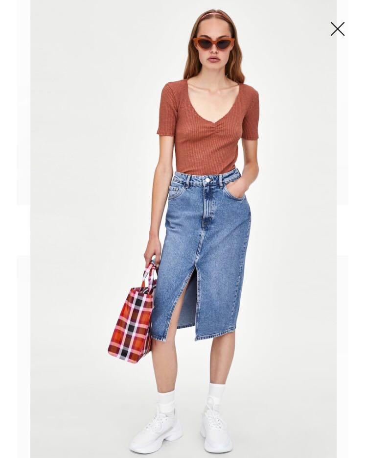 06f10a9ed0 Zara Denim Skirt