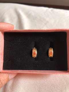 18k saudi gold clip earrings
