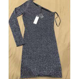 BCBGMAXARIA Black Inya Silk-Blend Sheath One Shoulder Dress Size XXS