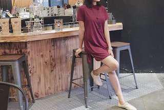Maroon T-shirt basic H&M / baju atasan kaos polos
