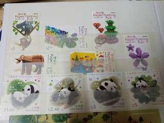 香港 熊貓 加 摺紙 郵票
