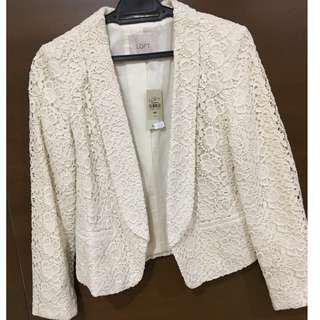 Ann Taylor Loft Winter White Lace Blazer Jacket Size Petite 00