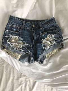 American Eagle Denim Shorts size 0