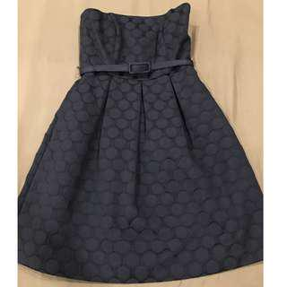 WHBM Iconic Starlet Strapless Dot Black Fit & Flare Dress Size Petite 00