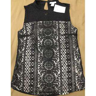 H&M Women's Black Lace Top Size XS