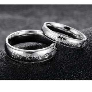Couple ring Silver color His Queen Her King