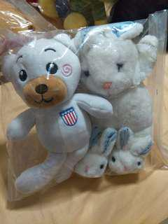 🚚 Slightly discoloured soft toys. Bear or rabbit