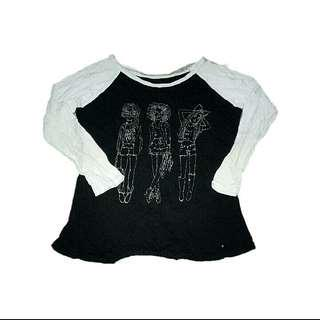 Black and White Long Sleeves with Prints