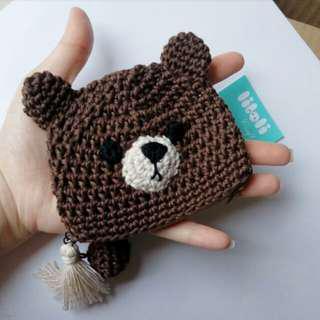 Line Brown coin purse dompet koin handmade