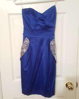 Navy blue formal dress with silver detailing (size xxs)