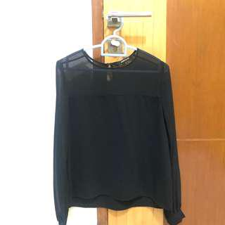 Black long sleeves sheer