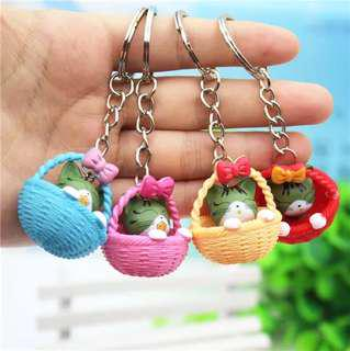 4 x cute cat in basket keychain grey for gift