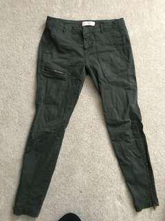 Zara Green Skinny Pants Size 38
