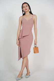 MDS Asymmetric Peplum Dress in Rose