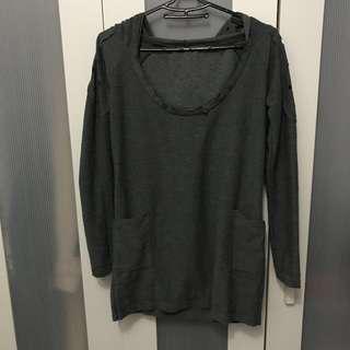 Grey Round Neck Long Hoodie w Pocket