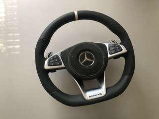 Super rare! New arrival! AMG flat bottom steering wheel with white stitching airbag, sports ring and AMG paddle shift!