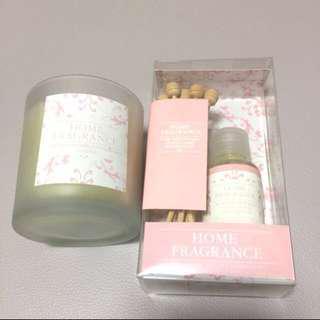 全新! The aromatherapy company 藤枝香薰油 35ml + 香薰蠟燭套裝 (Rose, Patchouli & Ylang Ylang)