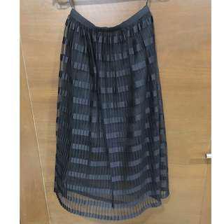 Miss Selfridge Premium Black Pleat Midi Skirt Size US 0