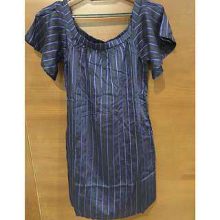 Banana Republic Blue Striped Off the Shoulder Dress Size Petite XXS