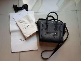 Celine Nano bag in drummed calfskin #Receipt #black #celine