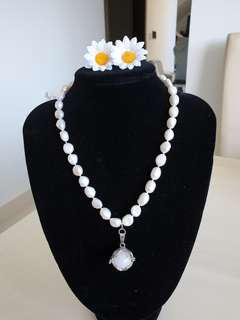 Pearl & White Jade Necklace