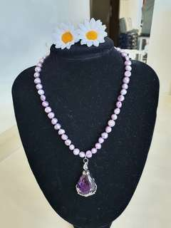 Lavender Pearls and Amethyst Necklace