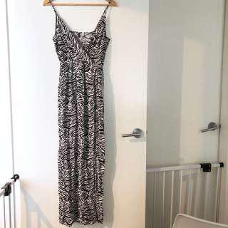 H&M long zebra print wrap dress