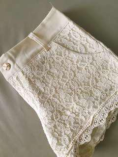 Beige Lace Ladies' Shorts with sweet lace trim