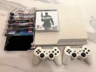 PS3 with 2 Wireless Controllers, Move Controller and 8 Games (Including GTA-V, Call of Duty, Far Cry 3, etc)