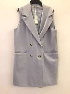 🚚 淺灰色 長版 背心罩衫