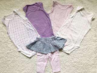 Girls Uniqlo Onesies + Carter's leggings (3-6months)