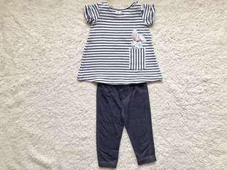 Girls H&M top and Carter's leggings (3-6months)