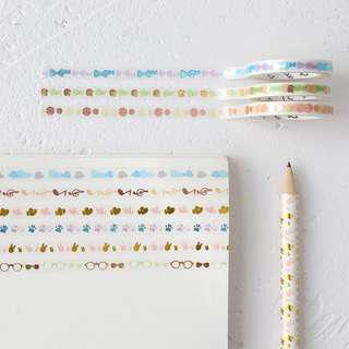 (PO) Metallic Border Washi Tapes