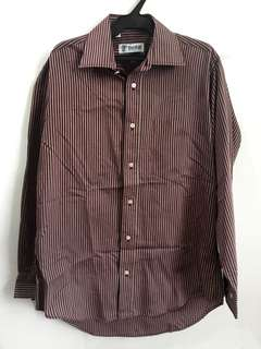 TOOTAL Maroon Stripes Long Sleeves Polo