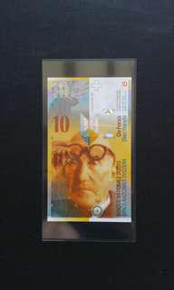 2010 Switzerland 10 Swiss Francs Currency Banknote
