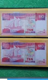 Singapore Ten Dollars Note (cutting error)