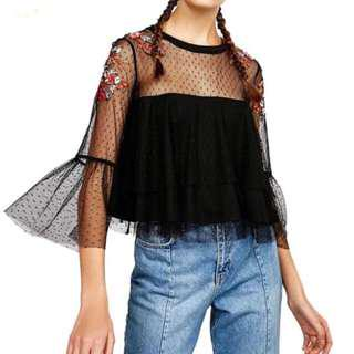 (New) Zara Inspired Embroider Flare Peplum Lace Top