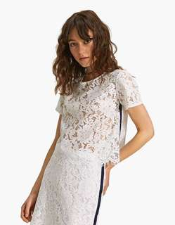 Stradivarius lace blouse with side stripe