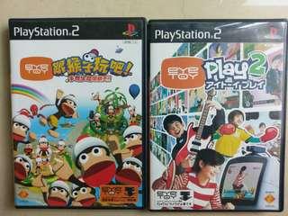 PS 2 eye toy 2個正版遊戲