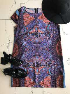 Colourful Shift Dress, Black Jelly Shoes and Hat