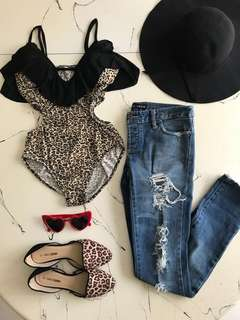 Leopard Bodysuit and Bardot Ripped Denim Jeans