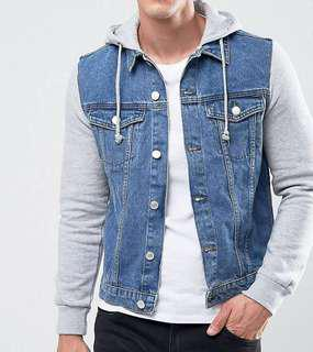 New Look Denim Jacket with jersey sleeves in mid wash